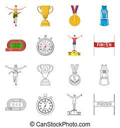 illustration., 勝者, シンボル。, コレクション, ビットマップ, デザイン, フィットネス, スポーツ, 株