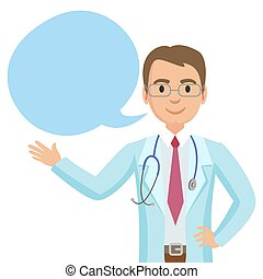 illustration., 医者, bubble., ベクトル, スピーチ, 微笑, physician., 幸せ