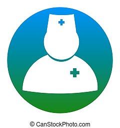 illustration., 医者, isolated., 印, バックグラウンド。, vector., 白, 薄青い, 円, アイコン