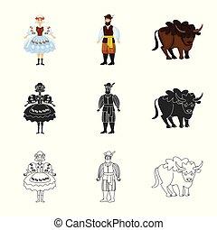 illustration., 印。, オブジェクト, 隔離された, コレクション, 伝統的である, 旅行, ベクトル, ランドマーク, 株