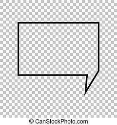 illustration., 印。, バックグラウンド。, スピーチ, 黒, 泡, 透明, アイコン