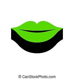 illustration., 印, 唇, 黒, vector., 緑, 3d, 側, アイコン