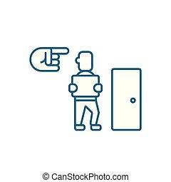 illustration., 印, 解雇, シンボル, ベクトル, 従業員, 線, アイコン, concept., 線である