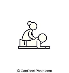 illustration., 印, concept., シンボル, ベクトル, 線, アイコン, マッサージ, 線である
