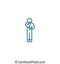 illustration., 印, concept., シンボル, ベクトル, 線, アイコン, self-doubt...