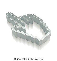 illustration., 反射, 金属, カーソル, ベクトル, アイコン, マウス, 3d