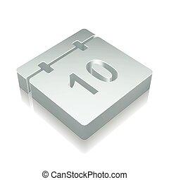 illustration., 反射, icon:, 金属, ベクトル, 時間, カレンダー, 3d