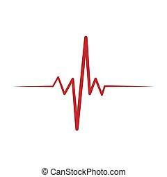 illustration., 固体, ベクトル, ekg, リズム, 心, icon., シンボル。, 心臓の鼓動, cardio