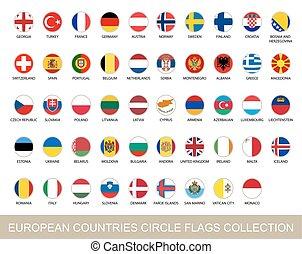 illustration., 国, collection., ベクトル, 旗, 円, ヨーロッパ