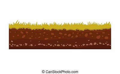illustration., 圖像, 矢量, 表面, 地面, 土壤, 陸地, 草, 石頭, games., ...