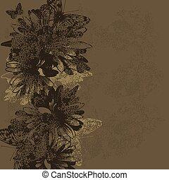 illustration., 型, ベクトル, 背景, butterflies., 花