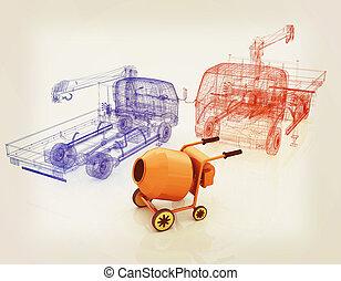 illustration., 型, ミキサー, コンクリート, モデル, truck., style., 3d