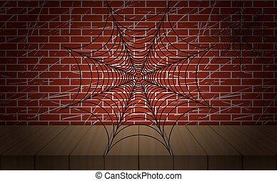 illustration., 壁, バックグラウンド。, クモの巣, vector., れんが