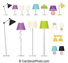 illustration., 壁, 仕事, 床, ベクトル, lamps., テーブル