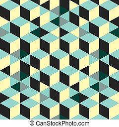 illustration., 壁, 抽象的, -, ベクトル, 背景, cubes., 3d