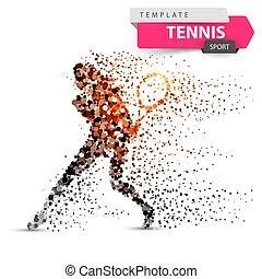 illustration., 大きい, テニス, -, スポーツ, template., 点
