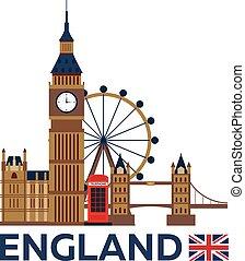 illustration., 大きい, 旅行, イギリス\, ベクトル, ロンドン, skyline., ban.
