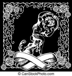 illustration., 天使, バックグラウンド。, ベクトル, 黒, 白