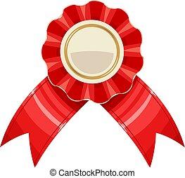 illustration., 奖品, 矢量, 红, 奖章, 带子