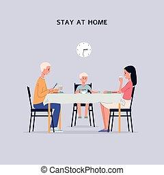 illustration., 套间, 家, 停留, 矢量, 旗帜, 一起, 家庭进餐