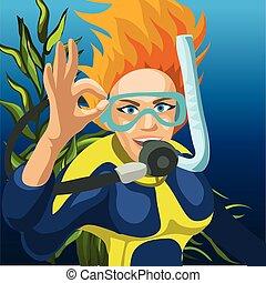 illustration., 女, ベクトル, スケッチ, ダイバー, クローズアップ, 幸せ, 手, 漫画, オーケー, 上げること, 印。, ポスター