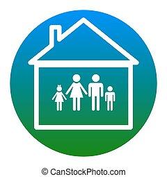 illustration., 家族, isolated., 印, バックグラウンド。, vector., 白, 薄青い, 円, アイコン
