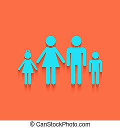 illustration., 家族, whitish, 壁, 印, バックグラウンド。, vector., れんが, アイコン