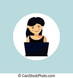 illustration., 家, 設計, 婦女, 工作, 矢量