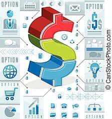 illustration., 層にされる, 概念, ドル記号, 考え, ベクトル, infographics, 創造的