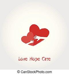 illustration., 希望, 愛, ベクトル, ロゴ, 心配