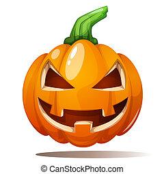 illustration., 幸せ, 恐れ, 恐怖, カボチャ, halloween.