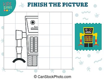 illustration., 幼稚園, ベクトル, 完了しなさい, ゲーム, 映像, 子供, 着色, 終わり