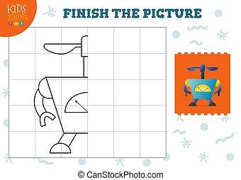 illustration., 幼稚園, ベクトル, 完了しなさい, コピー, ゲーム, 映像, 色, 学校の 子供
