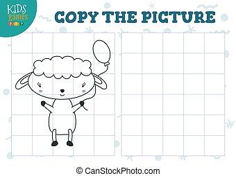 illustration., 幼稚園, ベクトル, 格子, 教育, コピー, 困惑, ミニ, ゲーム, 映像, 子供