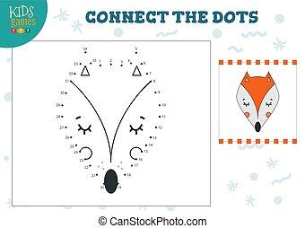 illustration., 幼稚園, ベクトル, 連結しなさい, 点, ゲーム, 活動, 子供, 教育, 子供