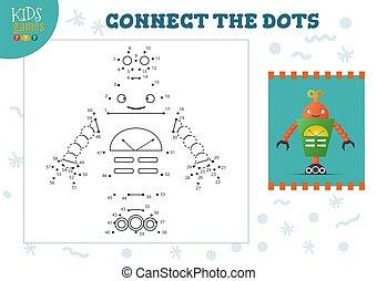 illustration., 幼稚園, ベクトル, 連結しなさい, 点, ミニ, ゲーム, 活動, 子供, 教育, 子供
