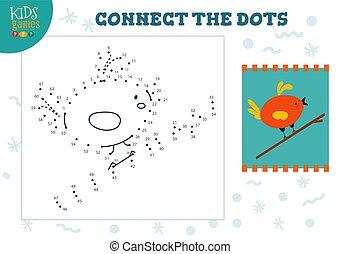 illustration., 幼稚園, ベクトル, 連結しなさい, 点, 図画, ゲーム, 活動, 子供, 子供