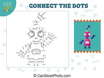 illustration., 幼稚園, ベクトル, 連結しなさい, 点, 教育, ゲーム, 活動, 子供, 子供
