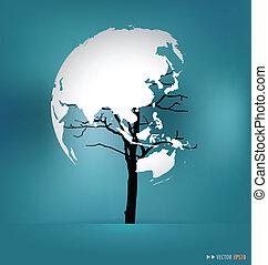 illustration., 形づくられた, map., 木, ベクトル, 世界