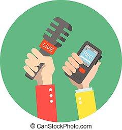 illustration., 手を持つ, microphone., 出版物, news., 生きている