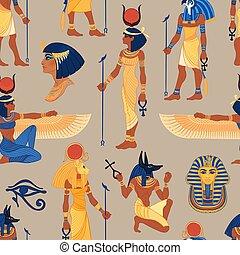 illustration., 手, エジプト人, ra, symbols., 引かれる, pyramid., 型, ...
