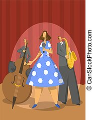 illustration., 抽象的, ジャズ, ベクトル, 音楽, trio., saxophonist, contrabassist, singer.