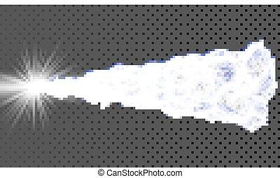 illustration., 抽象的, 出される, 動的, particles., バックグラウンド。, 白熱, ベクトル, 配列, grid., 技術, style., 3d
