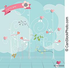 illustration., 抽象的, 木, flowers., ベクトル, 心