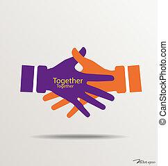 illustration., 握手, ベクトル, チームワーク, 手, logo.