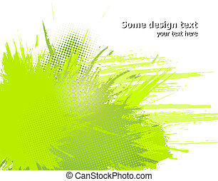 illustration., 摘要, 涂描, 矢量, 绿色, 飞溅