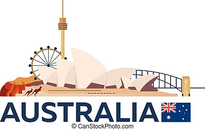 illustration., 旅行, ベクトル, シドニー, オーストラリア, skyline.