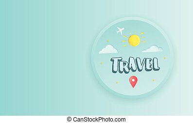 illustration., 旅行, 矢量, 時間, lettering., 作品, 手寫
