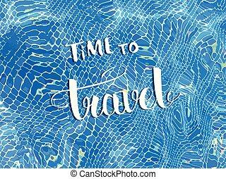 illustration., 旗幟, 旅行, 矢量, 時間, lettering., 手寫