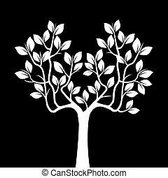 illustration., 木, バックグラウンド。, ベクトル, 黒, 白